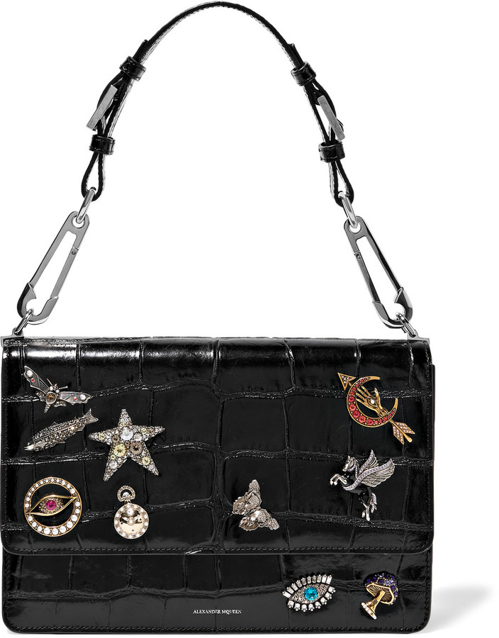Alexander McQueen Alexander McQueen Embellished croc-effect leather shoulder bag