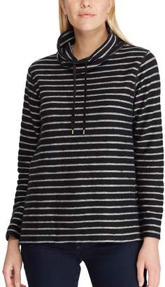 Chaps Petite Striped Cowlneck Top