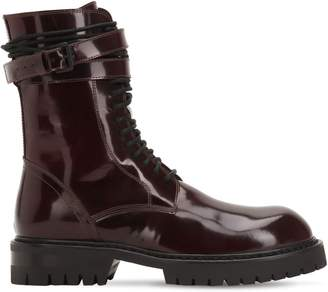 Ann Demeulemeester 30mm Polished Leather Combat Boots