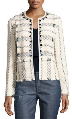 Tory Burch Abbot Embellished Striped Tweed Jacket, Celeste/Verde $495 thestylecure.com