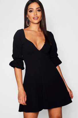 boohoo Double Puff Sleeve Sweetheart Skater Dress