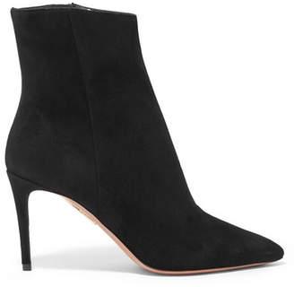 Aquazzura Alma 85 Suede Ankle Boots - Black