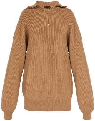Balenciaga Half-zip wool-blend sweater