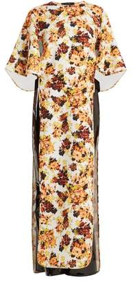 Ellery Magnificent 8 Floral Print Cut Out Cady Dress - Womens - Yellow Multi