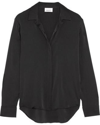 DKNY - Stretch-silk Satin Shirt - Black $260 thestylecure.com
