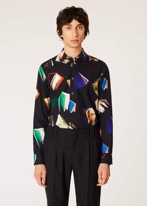 Paul Smith Men's Slim-Fit Black 'Books' Print Shirt With 'Artist Stripe' Cuff Lining