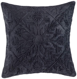 Kas Navy Tile Pattern Margo Velvet Cushion