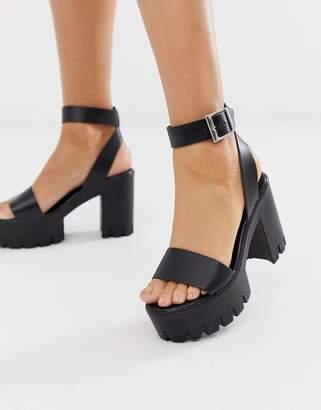 Asos Design DESIGN Noticeable chunky platform heeled sandals in black