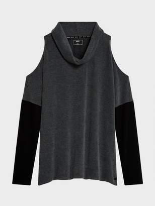 DKNY Cold Shoulder Top Heather Grey S
