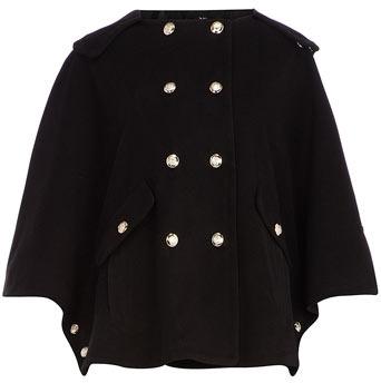 Dorothy Perkins Black cape coat