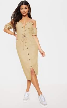 PrettyLittleThing Stone Lace Up Front Cargo Bardot Midi Dress