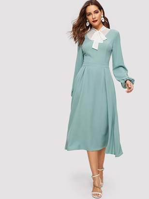 Shein Tied Contrast Yoke Box Pleated Dress
