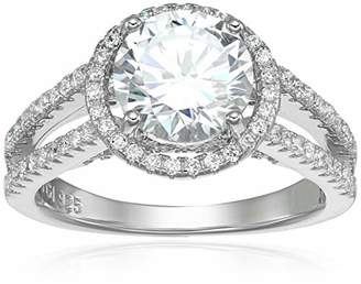 Decadence Women's Sterling 8mm Round Cut Split Shank Open Cathedral Engagement Ring