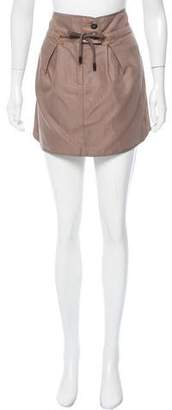 Brunello Cucinelli Leather-Accented Mini Skirt