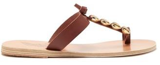 Ancient Greek Sandals Iris Shell Embellished Leather T Bar Sandals - Womens - Dark Brown