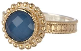Anna Beck 18K Gold Plated Sterling Silver Blue Quartz Round Ring