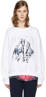 Baja East White Fleece Pullover
