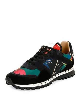 Valentino Tropical Nylon & Suede Trainer Sneaker, Multicolor $795 thestylecure.com