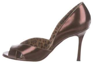 Manolo Blahnik Kava Metallic Pumps