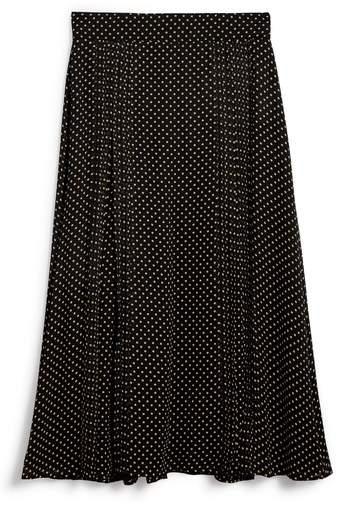 Burberry Fine Pintuck Dot Print Silk Skirt