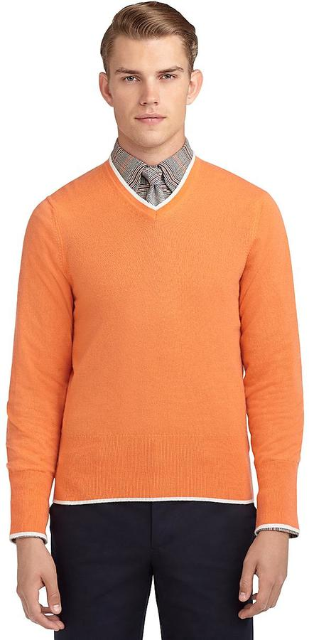 Brooks Brothers Tipped V-Neck Sweater