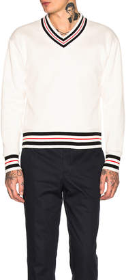 Thom Browne Oversized V Neck Sweater in White | FWRD