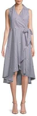 Calvin Klein Striped Cotton Wrap Dress