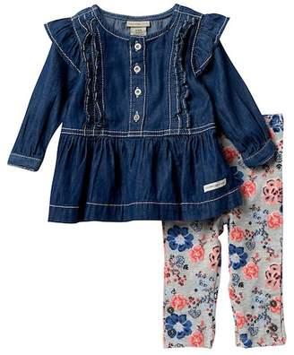 Calvin Klein Lightweight Denim Ruffle Top & Leggings Set (Toddler Girls)