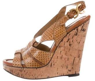 928c6a01efec Pre-Owned at TheRealReal · Chloé Snakeskin Platform Wedge Sandals
