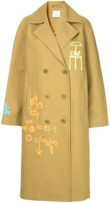 Tibi screen printed trench coat