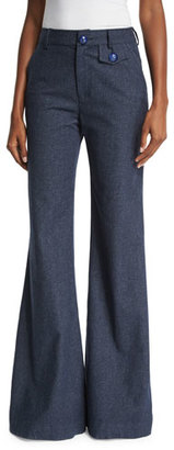 See by Chloe Chambray Flare Trousers, Indigo $395 thestylecure.com