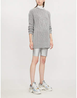 Moschino Logo-embroidered cable-knit mini dress