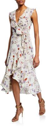Donna Morgan Floral Print Ruffle Midi Wrap Dress
