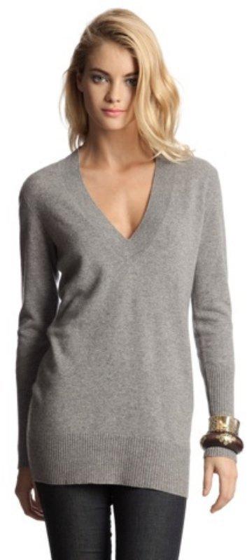 Magaschoni medium grey heather cashmere v-neck tunic sweater