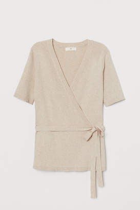 H&M Ribbed Wrap-front Cardigan - Beige