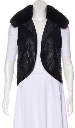 J. Mendel Fur-Trimmed Pleated Vest
