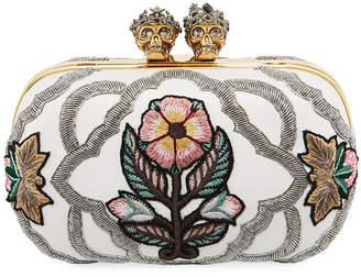 Alexander McQueen Queen & King Skull Embroidered Box Clutch Bag