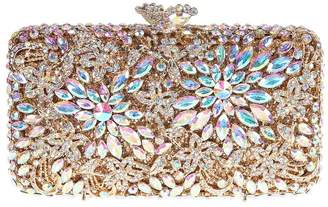 Santimon Women Clutch Flower Clutch Purse Luxury Crystal Evening Bags with Removable Strap AB