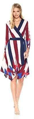BCBGMAXAZRIA Azria Women's Isabella Knit Asymmetrical Striped Wrap Dress