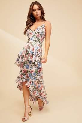 Missguided Womens Floral Ruffle Midi Dress - Pink