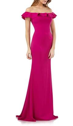 Carmen Marc Valvo Off the Shoulder Ruffle Neck Gown