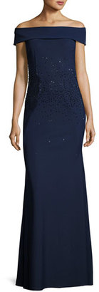 Rickie Freeman for Teri Jon Off-the-Shoulder Sequined Ponte Gown, Blue $895 thestylecure.com