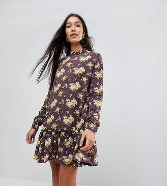 Asos Tall TALL Washed Mini Dress with Ruffle Hem in Floral Print