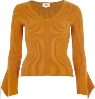 River Island Womens Petite yellow rib knit wide sleeve top