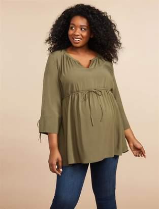 Motherhood Maternity Plus Size Tie Sleeve Maternity Blouse