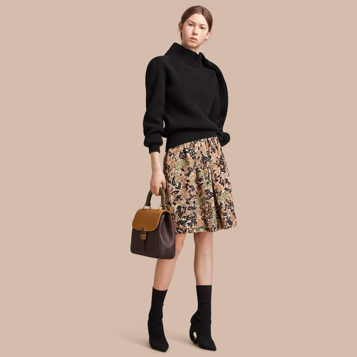 Burberry Beasts Print Technical Silk Voluminous Skirt