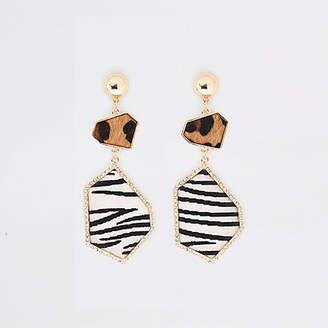 River Island Gold tone animal print rhinestone drop earring