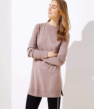 LOFT Petite Funnel Neck Tunic Sweater