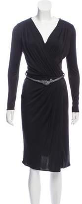 Blumarine Pleated Belted Dress w/ Tags Black Pleated Belted Dress w/ Tags