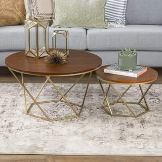Walker Edison Geometric Wood Nesting Coffee Tables - Walnut/Gold